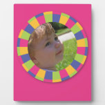 Funky Circle frame - Disco! on pink Display Plaques
