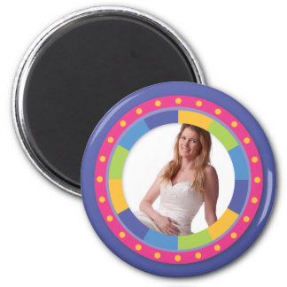 Funky Circle frame - Disco! on purple 2 Inch Round Magnet