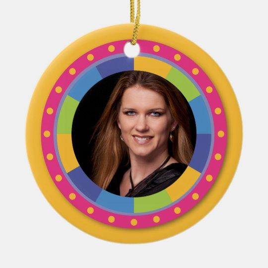 Funky Circle frame - Disco! on yellow Ceramic Ornament