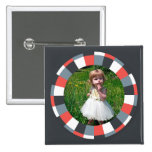 Funky Circle frame - Grey and Red on black Button