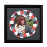 Funky Circle frame - Grey and Red on black Keepsake Box