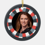 Funky Circle frame - Grey and Red on black Ornament