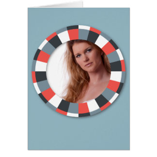 Funky Circle frame - Grey and Red on blue grey Card
