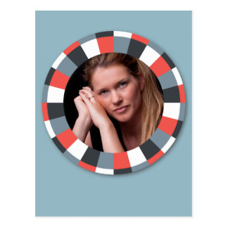 Funky Circle frame - Grey and Red on blue grey Postcard