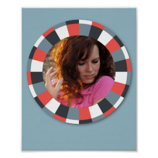 Funky Circle frame - Grey and Red on blue grey Posters