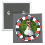 Funky Circle frame - Grey and Red on grey Pinback Button