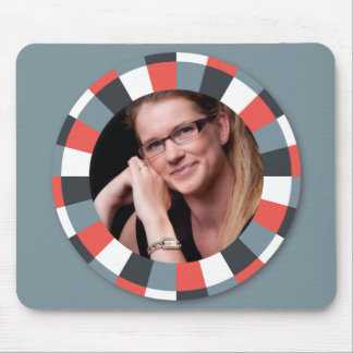 Funky Circle frame - Grey and Red on grey Mouse Pad