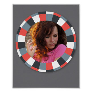 Funky Circle frame - Grey and Red on grey Print