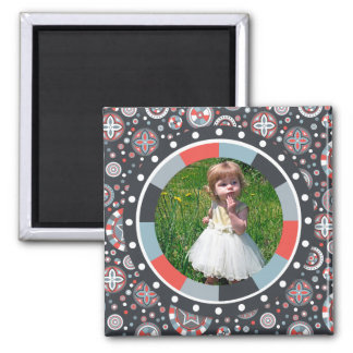 Funky Circle frame - Grey and Red on pattern 2 Inch Square Magnet