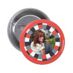 Funky Circle frame - Grey and Red on red Button