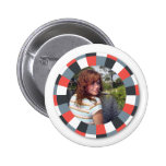 Funky Circle frame - Grey and Red on white Pin