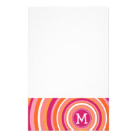 Funky Circle Pattern with Monogram Stationery