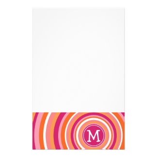 Funky Circle Pattern with Monogram Personalized Stationery