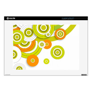"""Funky circles green and orange customised products skins for 15"""" laptops"""