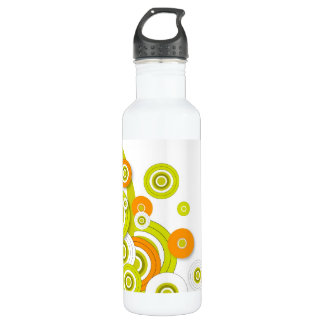 Funky circles green and orange customised stainless steel water bottle
