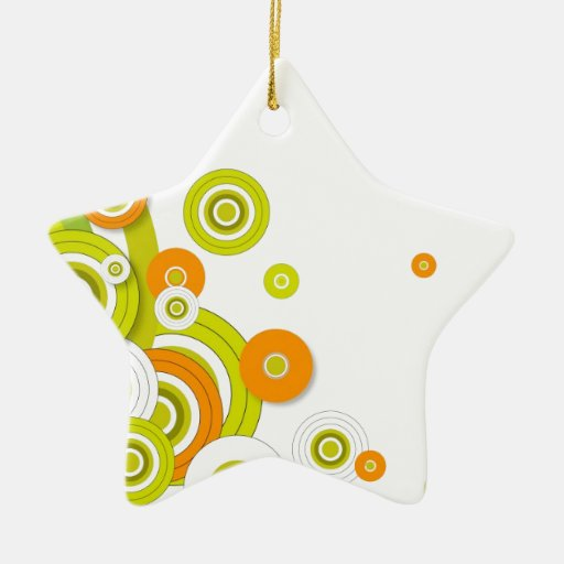 Funky circles on white christmas ornament