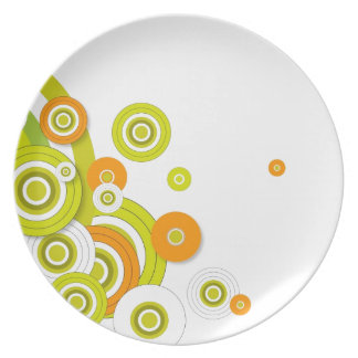 Funky circles on white dinner plate