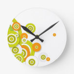 Funky circles on white wall clock