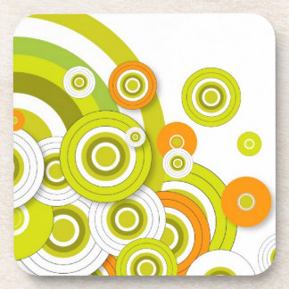 Funky circles set of six cork coasters