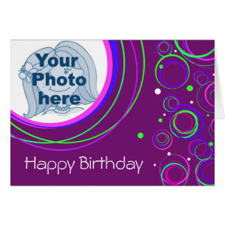 "Funky circles ""your picture\"" birthday card purple"