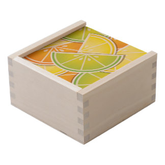 Funky citrus wedges wooden keepsake box