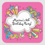 Funky Cloud Birthday Party Sticker