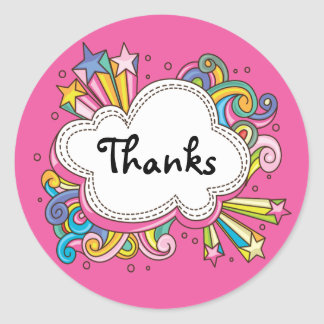 Funky Cloud Thank You Round Sticker