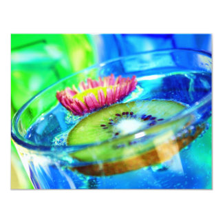 Funky Cocktail Party Kiwi and Flower Card