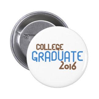Funky College Graduate 2016 (Blue) Pinback Button