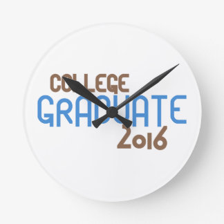 Funky College Graduate 2016 (Blue) Round Clock