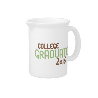 Funky College Graduate 2016 (Green) Beverage Pitcher