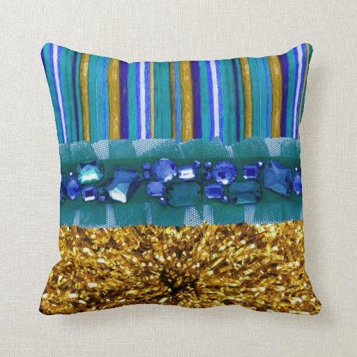 Funky Color Burst Ribbons & Jewels Custom  Pillow