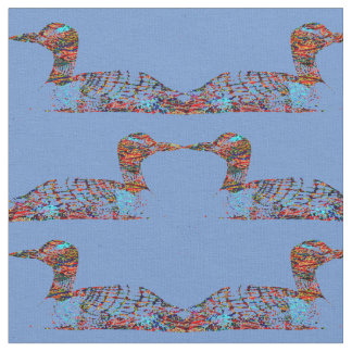 Funky Colored Loons on Cornflower Blue Fabric