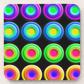 Funky Colorful 3D Circles Beverage Coaster
