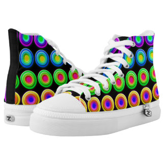 Funky Colorful 3D Circles High-Top Sneakers