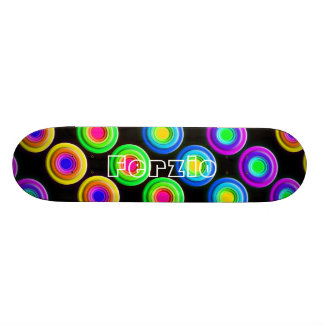 Funky Colorful 3D Circles Skateboard