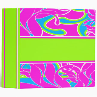 Funky Colorful Abstract Floral Binder