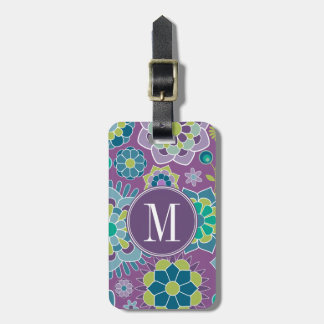 Funky Colorful Floral Pattern Custom Monogram Bag Tag