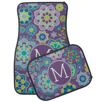Funky Colorful Floral Pattern Custom Monogram Car Mat