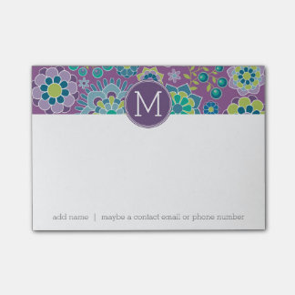 Funky Colorful Floral Pattern Custom Monogram Post-it® Notes