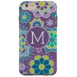 Funky Colorful Floral Pattern Custom Monogram Tough iPhone 6 Plus Case