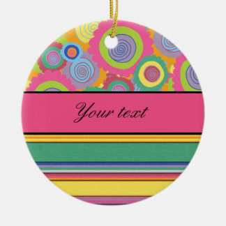 Funky Colorful Flowers and Stripes Ceramic Ornament