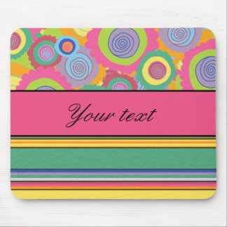 Funky Colorful Flowers and Stripes Mouse Pad