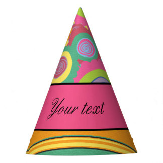 Funky Colorful Flowers and Stripes Party Hat