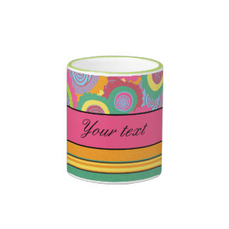 Funky Colorful Flowers and Stripes Ringer Mug