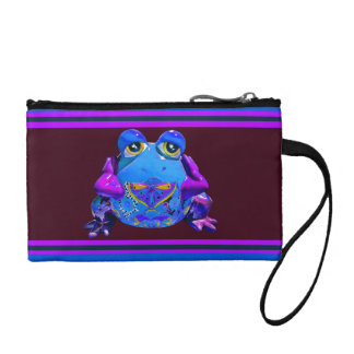 Funky Colorful Frog Blue Purple Funny Gifts Change Purses