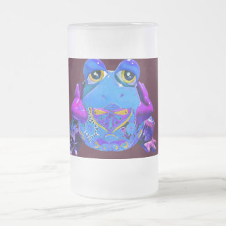 Funky Colorful Frog Blue Purple Funny Gifts Frosted Glass Beer Mug