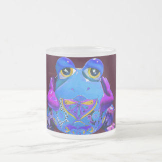 Funky Colorful Frog Blue Purple Funny Gifts Frosted Glass Coffee Mug