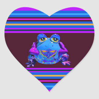 Funky Colorful Frog Blue Purple Funny Gifts Heart Sticker