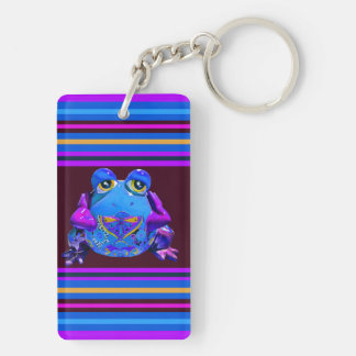 Funky Colorful Frog Blue Purple Funny Gifts Keychain